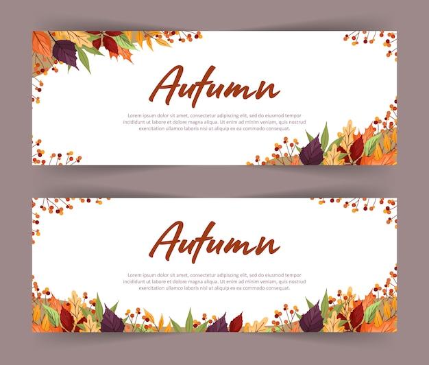 Set van banners met kleurrijke herfst esdoorn, lijsterbes, els en esp bladeren en takken. webdesign.