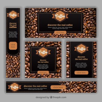 Set van banners met koffiebonen