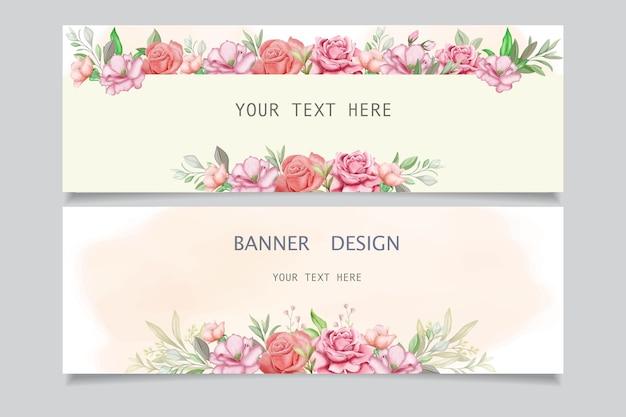 Set van banners met mooie bloemen en bladeren