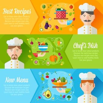 Set van banners met platte cook portretten en schotel pictogrammen