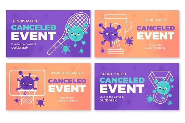 Set van banners voor geannuleerde sportevenementen