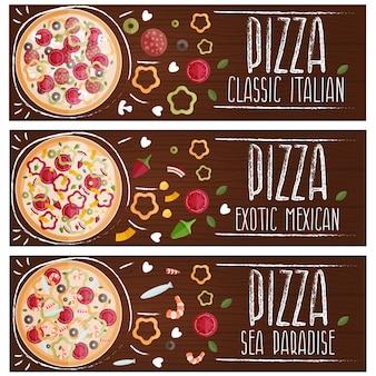 Set van banners voor thema pizza met verschillende smaken plat.