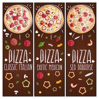 Set van banners voor thema-pizza met verschillende smaken