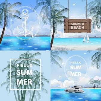 Set van banners zomer zee reizen zomervakantie vector illustratie sjabloon vector