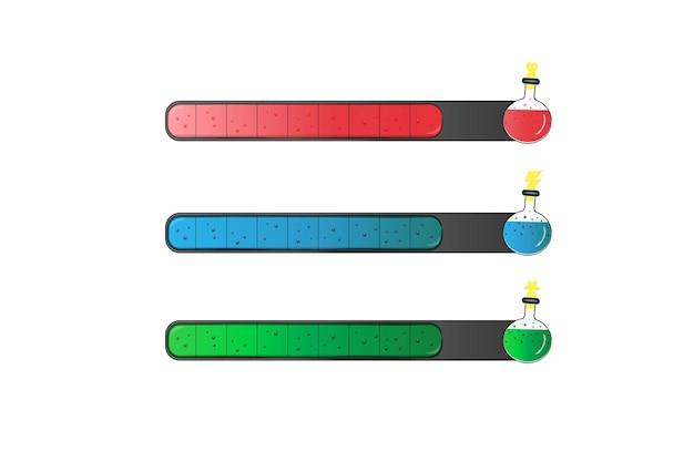 Set van bar-downloader met elixerflessen bronbalk voor spelinterface-elementen