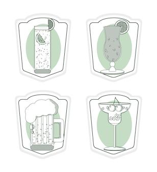 Set van bar drankjes in vierkante frame collecties