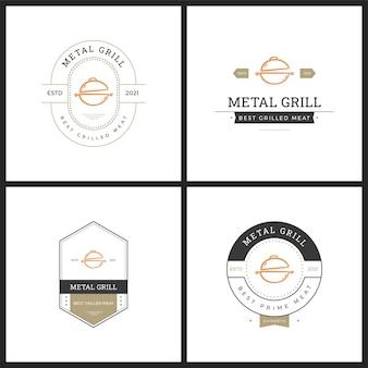Set van barbaque badge vector logo