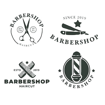 Set van barbershop vintage badge logo ontwerpsjabloon