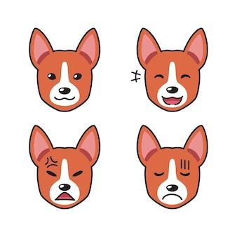 Set van basenji-hond wordt geconfronteerd met verschillende emoties