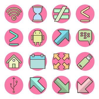 Set van basiselementen pictogrammen geïsoleerde elementen