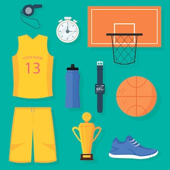Set van basketbal items: uniform, bal, mand, gouden trofee, timer, digitale polshorloges met pulse monitor, fles water, sportschoen en fluitje