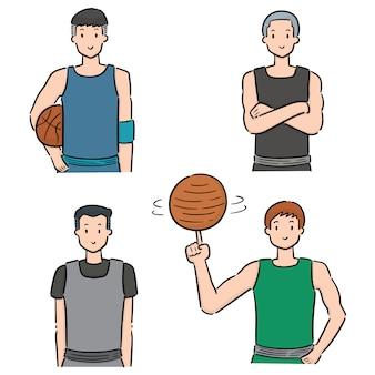 Set van basketbalspeler