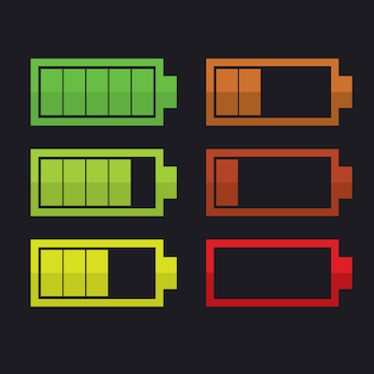 Set van batterij-indicatoren, vectorillustratie