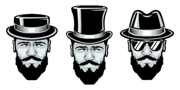 Set van bebaarde man met hoeden