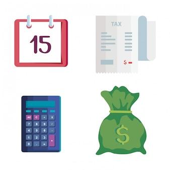 Set van belastingdag iconen