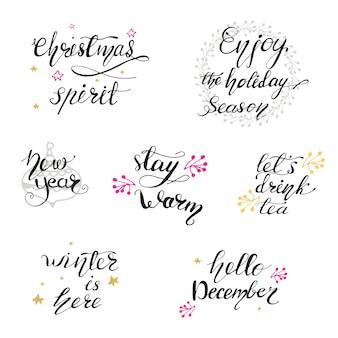 Set van belettering ontwerpen met kerstgroeten. vector illustratie.