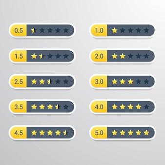 Set van beoordelingssterren van één tot vijf punten