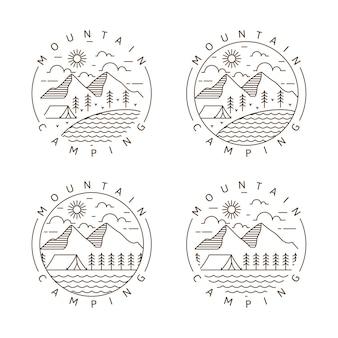 Set van berg en camping monoline of lijn kunststijl vectorillustratie