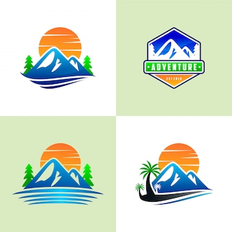 Set van berg logo sjablonen