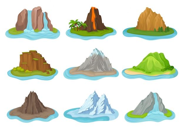 Set van bergen en watervallen. kleine eilandjes omgeven door water. natuurlijk landschap