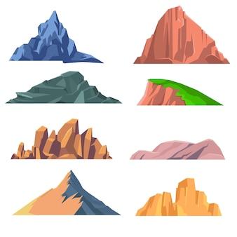 Set van bergen rotsen platte pictogram