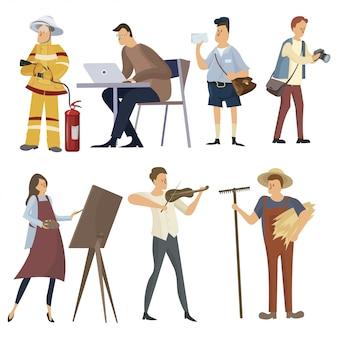 Set van beroepen. verzameling van mensen met verschillende beroepen. tekenen voor kinderen.