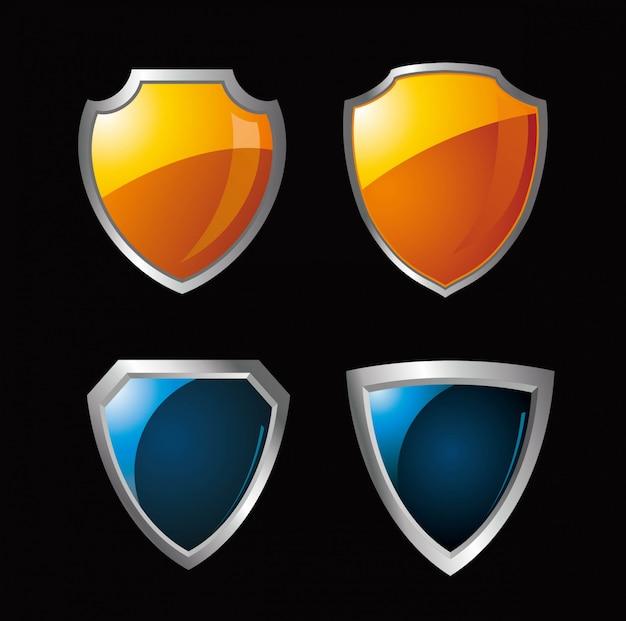 Set van beschermde guard shield schijnen rond concept