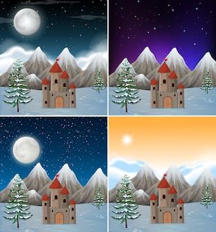 Set van besneeuwde kasteeltaferelen