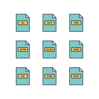 Set van bestandsindelingen pictogrammen geïsoleerd op een witte achtergrond