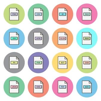 Set van bestandsindelingen pictogrammen geïsoleerde elementen