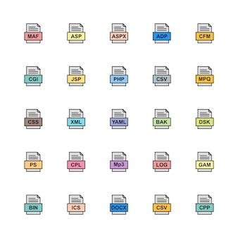Set van bestandsindelingen pictogrammen