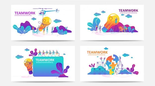 Set van bestemmingspagina en webpagina met teamwerkconcept. creatieve vectorillustratie van zakelijke grafische mensen, zoeken naar nieuwe ideeën. gebruik voor seo, web design, ui development, zakelijke app. - vector