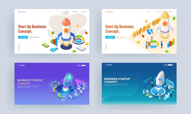 Set van bestemmingspagina-ontwerp met illustratie van mensen die samenwerken bij het lanceren van een succesvol project voor bedrijven en financiële infographic elementen voor het opstarten van een bedrijfsconcept.