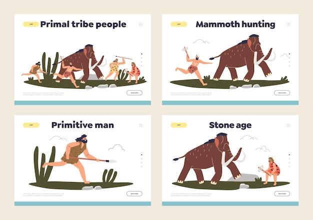 Set van bestemmingspagina's met prehistorische, oerstam primitieve holbewoners die op mammoet jagen.