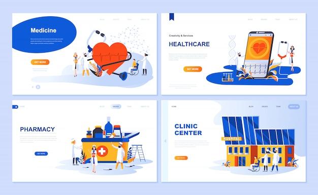 Set van bestemmingspagina sjabloon voor geneeskunde, gezondheidszorg, apotheek, kliniek centrum