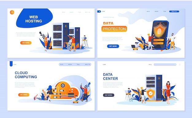 Set van bestemmingspagina-sjabloon voor hosting, gegevensbescherming, datacenter, cloud computing