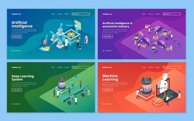 Set van bestemmingspagina-sjabloon voor kunstmatige intelligentie, robottechnologie, toekomstige technologie en machine learning