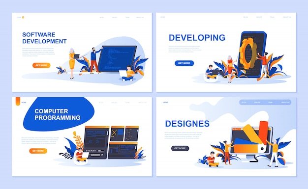 Set van bestemmingspagina-sjabloon voor software, ontwikkeling, ontwerper, programmering