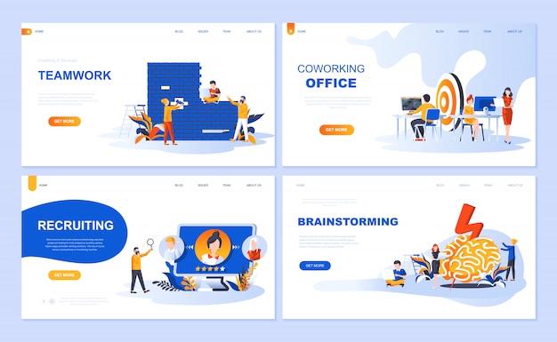 Set van bestemmingspagina-sjabloon voor teamwork, werving, brainstorming, coworking office