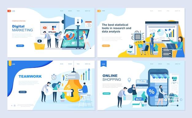 Set van bestemmingspagina sjabloon voor winkelen, marketing, teamwork, bedrijfsstrategie.