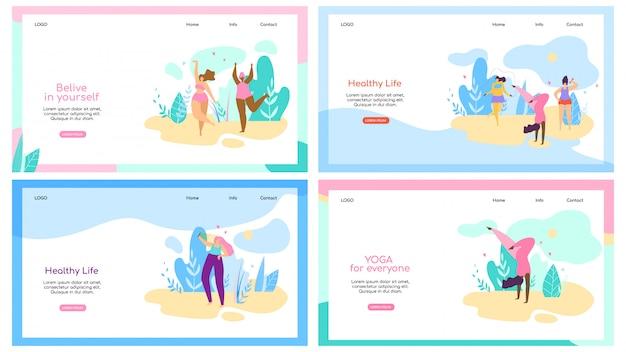 Set van bestemmingspagina websjabloon met aantrekkelijke vrouw met overgewicht gezonde levensstijl