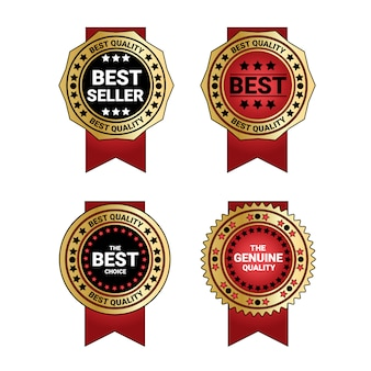 Set van bestseller en kwaliteit medailles gouden badge met rood lint decoratie geïsoleerd