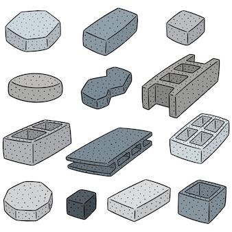 Set van betonnen constructieblok