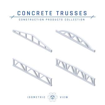 Set van betonnen spanten, isometrische weergave in vlakke stijl.
