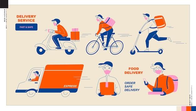 Set van bezorger pictogrammen voedsel- en pakketbezorgservice