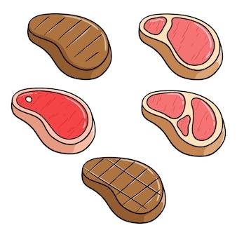 Set van biefstuk vlees met schattige doodle stijl