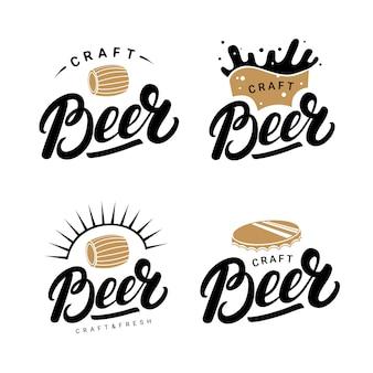 Set van bier handgeschreven letters logo's