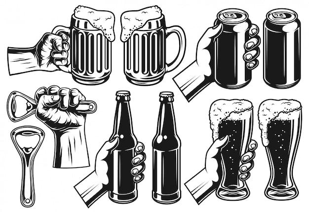 Set van bier-object Gratis Vector