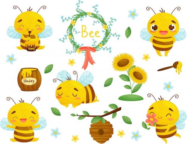 Set van bijen, honing en andere bijenteelt illustratie. . tekenfilm.