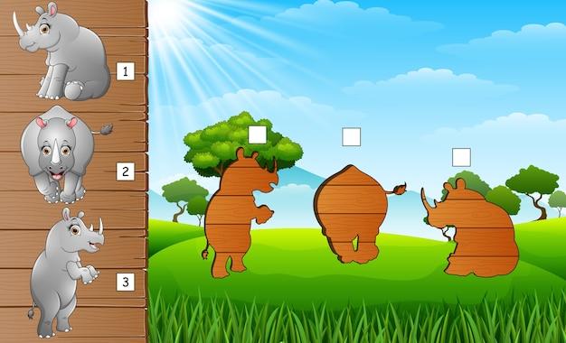 Set van bijpassende neushoorns